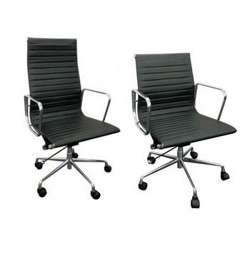 Linea richmond alta y baja de acero cromado en negro for Sillas de oficina altas