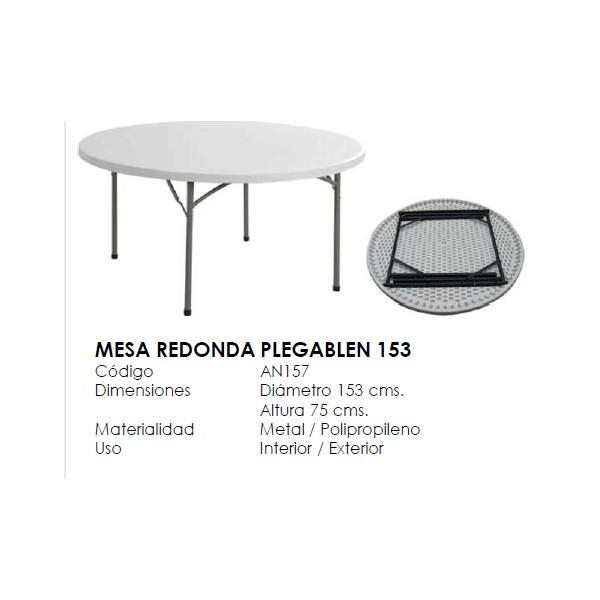 Mesa plegable redonda for Mesa plegable 3 cuerpos