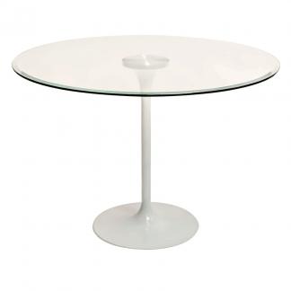 mesa tulip, cubierta de vidrio