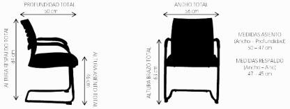 dimensiones silla de visita de oficina LAMBDA